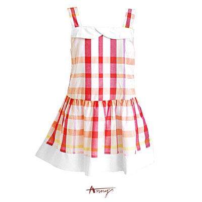 可愛繽紛格紋平口吊帶洋裝*5129粉