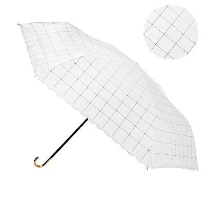 2mm 色膠抗UV 格紋滾邊輕量彎把手開傘 (格子米)