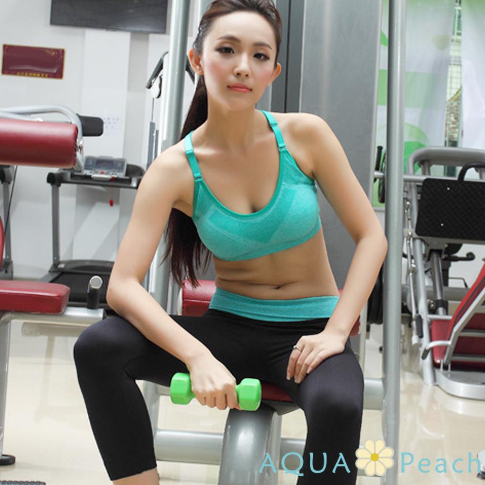 運動內衣 減震彈性可調肩帶運動內衣 (綠色)-AQUA Peach
