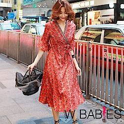正韓 民族風交疊V領綁帶五分袖洋裝 (共二色)-W BABIES