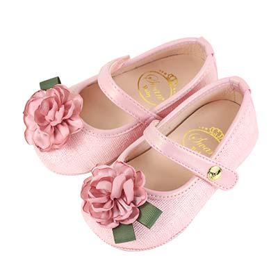Swan天鵝童鞋-優雅法式花朵學步鞋1561-粉