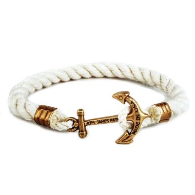 Kiel James Patrick 美國手工船錨棉麻繩單圈手環 白色粗繩編織