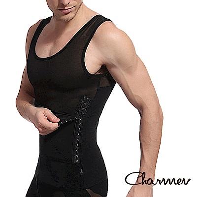高機能三段排扣調整型背心 男性塑身衣 黑色 Charmen