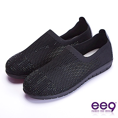 ee9率性風采鑲嵌水鑽超輕軟平底休閒便鞋 黑色