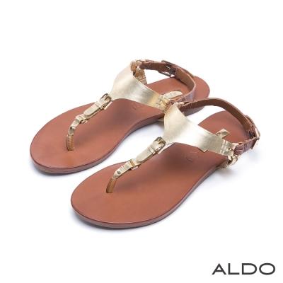 ALDO-原色真皮窄版金屬皮帶夾腳涼鞋-華麗金色