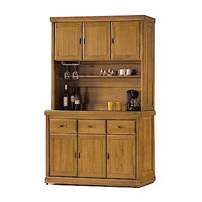 品家居 德貝5尺梧桐木實木玻璃餐櫃組合-149.4x43.8x198.3cm免組