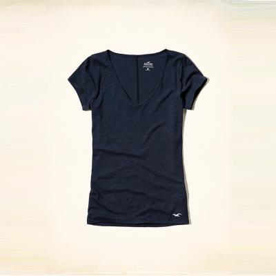 Hollister 經典海鷗刺繡V領短袖T恤(女)-深藍色 HCO