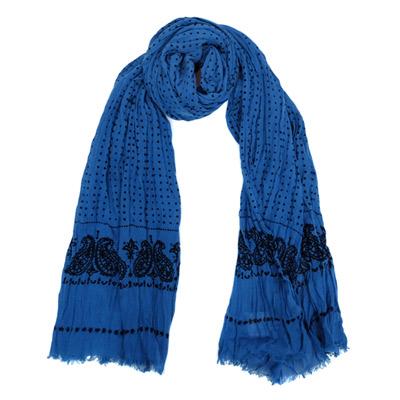 COACH單寧藍黑點點圖騰抓皺長圍巾(168x48)