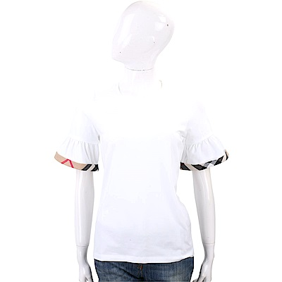 BURBERRY 格紋細節白色荷葉袖棉質T恤