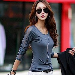 正韓 純色圓領拼透膚紗質長袖T恤 (共三色)-N.C21