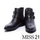 短靴-MISS-21-經典必備雙釦帶牛皮粗跟短靴