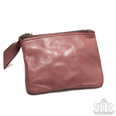 2R-匠牛皮Skin自然皺紋四方零錢包-漾梅紅