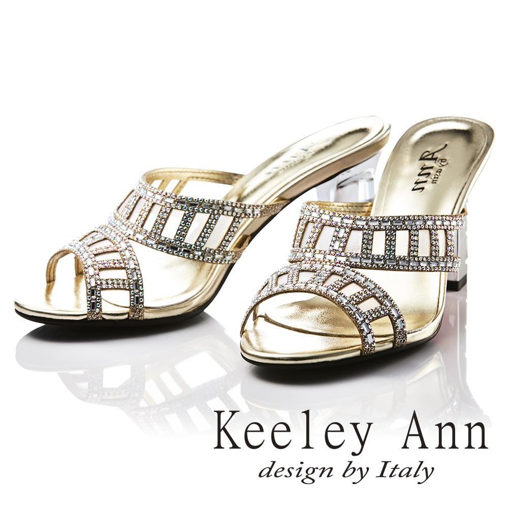 Keeley Ann 耀眼奪目~唯美網紗閃耀晶鑽帶粗高跟拖鞋(金色-Ann)