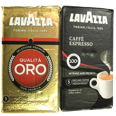 LAVAZZA ORO金牌咖啡粉(<b>2</b>包)+ESPRESSO黑牌咖啡粉(<b>2</b>包)