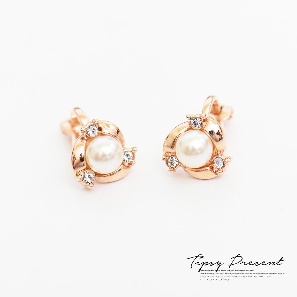 微醺禮物耳夾鍍18K金小巧精緻珍珠耳環無耳洞
