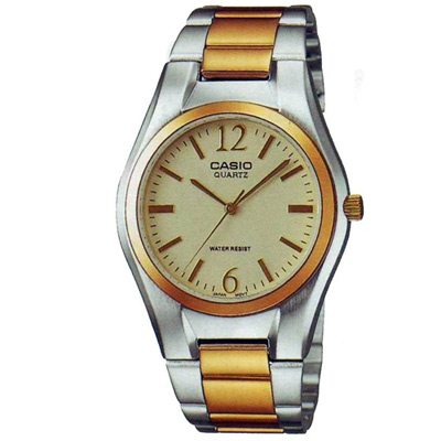 CASIO 富豪金銀時尚指針紳士錶(MTP-1253SG-9A)-淡香檳色/38mm