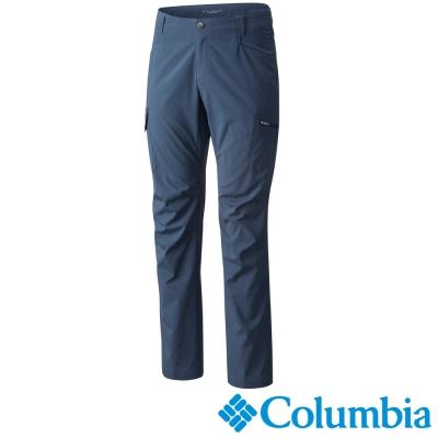 【Columbia哥倫比亞】男-防曬50防潑彈性長褲-藍色 UAM15690BL