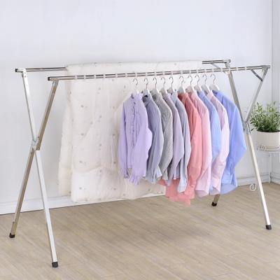 家可 豪華款全不鏽鋼防風X型伸縮免組裝收納曬衣架(超長2.4米)