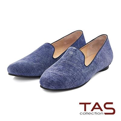 TAS 刷色牛仔布紋休閒樂福鞋-簡約藍