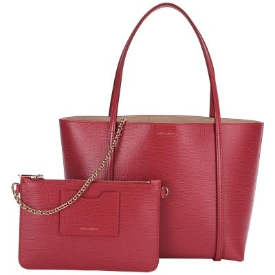 DOLCE & GABBANA ESCAPE 壓紋牛皮購物包(紅色)