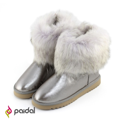 Paidal柔軟仿狐狸毛絨顯瘦短筒雪靴-晶鑽灰