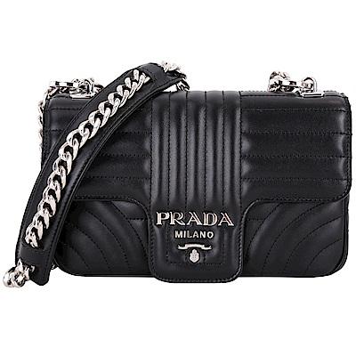 PRADA Diagramme 絎縫小牛皮肩背鍊帶包(中/黑色)