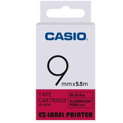 CASIO  標籤機專用特殊色帶-9mm(瑩光色材質)瑩光桃紅底黑字-XR-9FPK1