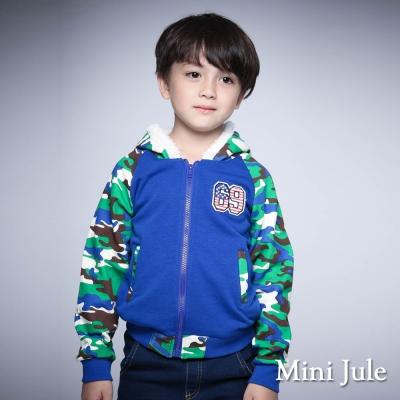 Mini Jule 童裝-外套 不倒絨迷彩風拉鍊連帽外套(綠)
