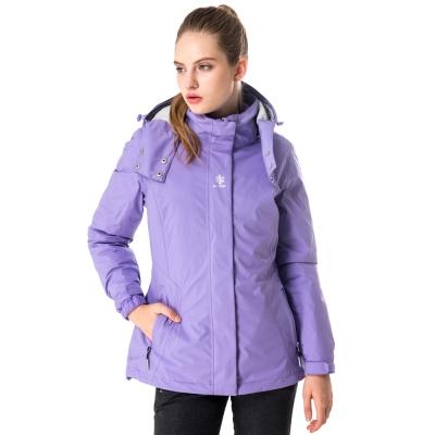 【hilltop山頂鳥】女款GoreTex兩件式防水羽絨拆袖短大衣F22FU0紫