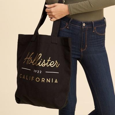 HCO Hollister 海鷗 個性塗鴉印刷托特布背帶-黑色