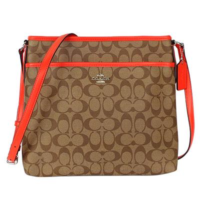 COACH卡其C Logo亮橘飾邊真皮背帶方型斜背包