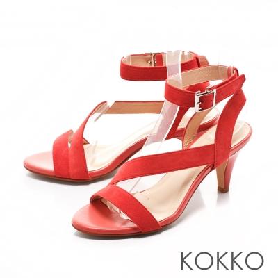 KOKKO- 優雅女伶線條繫帶高跟涼鞋 - 橘紅