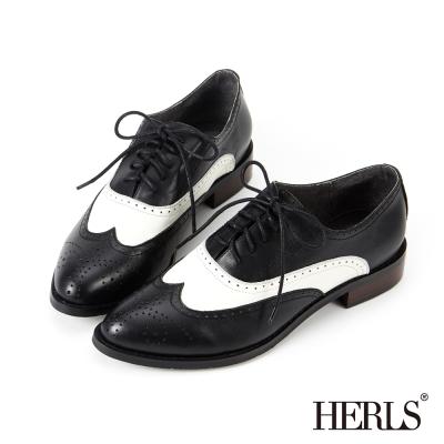 HERLS 全真皮 時髦撞色拼接雕花牛津鞋~黑色