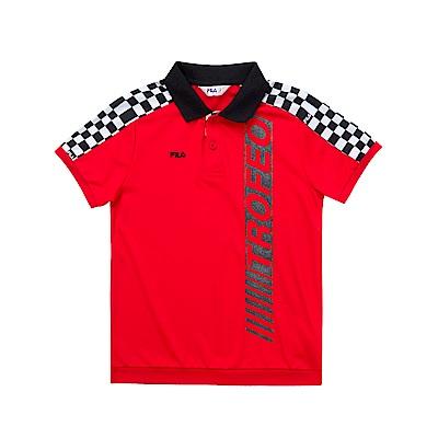 FILA KIDS 男童吸濕排汗POLO衫-紅 1POS-4427-RD