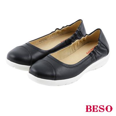 BESO Q彈超柔軟 鬆緊帶輕量全真皮休閒鞋~黑