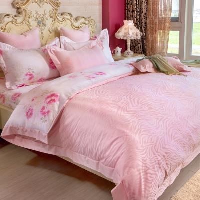 義大利La Belle 幸福花嫁 雙人天竹緹印花四件式防蹣抗菌舖棉兩用被床包組