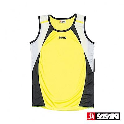 SASAKI-吸濕排汗田徑背心-女-艷黃-黑-白