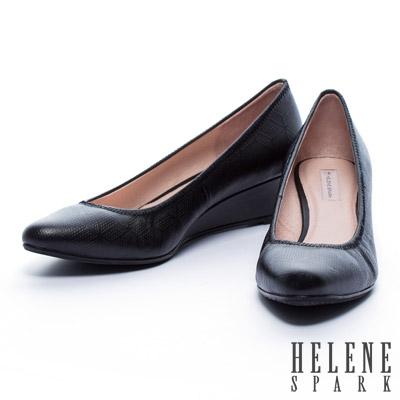 楔型鞋-HELENE-SPARK-菱格壓紋牛皮楔型高跟鞋-黑