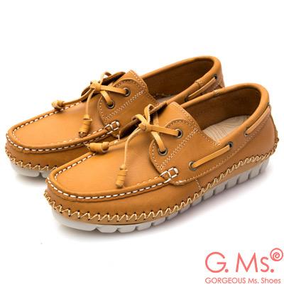 G.Ms. MIT系列-牛皮縫線綁帶帆船鞋-駝色