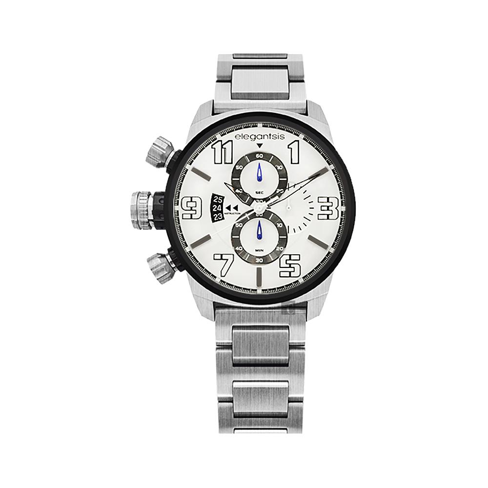 elegantsis Army 叢林戰鬥強悍三眼計時腕錶-銀/42mm