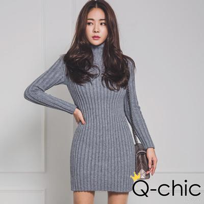 率性坑條針織高領連身裙 (共四色)-Q-chic
