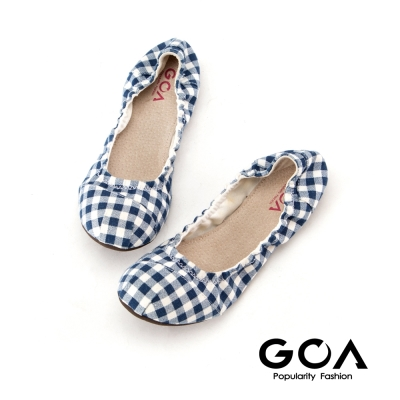 GOA經典格紋摺疊娃娃鞋-藍色