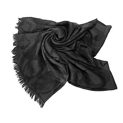COACH 經典緹花C LOGO流蘇披巾絲巾圍巾(大/黑)