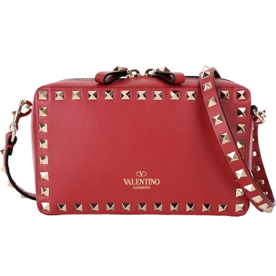 Valentino Rockstud 小牛皮鉚釘滾邊斜背包(紅色)