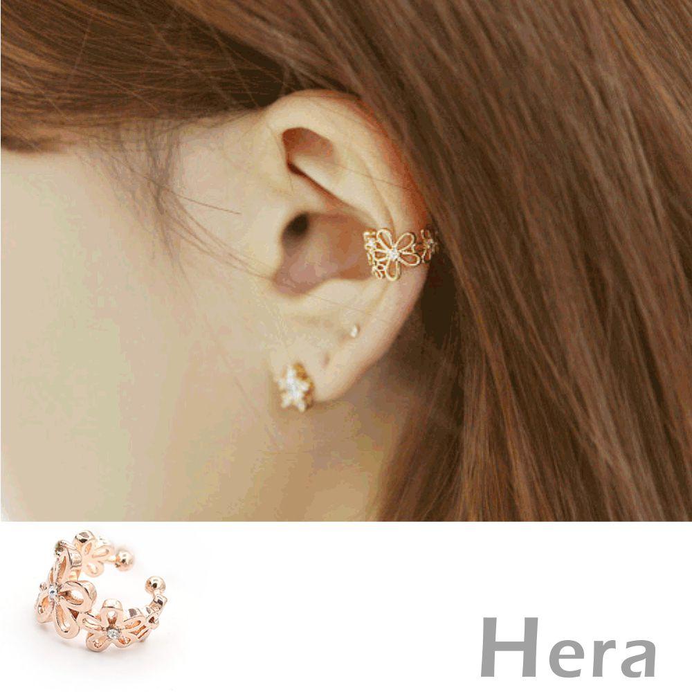Hera赫拉 水鑽裸雕花朵無耳洞耳環/耳扣/耳骨夾-2色(二顆入)