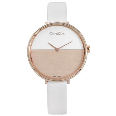 CK RISE 迷人晨曦海平面木紋質感皮革女錶-白x玫瑰金框/37mm