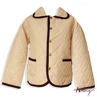 Anny經典素面雙口袋鋪棉外套*8439卡其