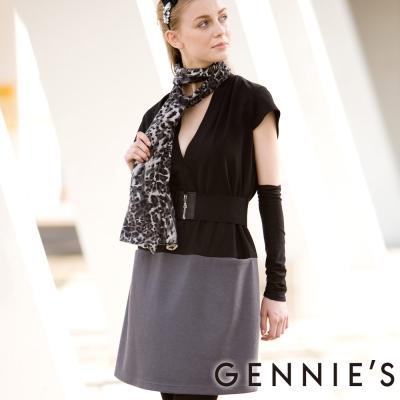 【Gennie's奇妮】性感大V領雙色拼接秋冬孕婦洋裝(C2Y01)