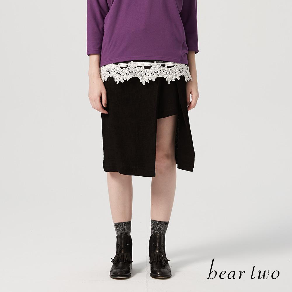 beartwo 一片式開衩皮帶皮飾五分裙(兩色)-動態show