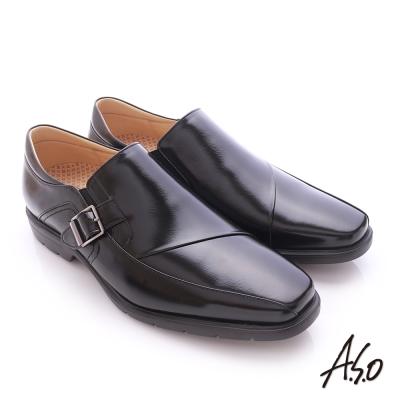 A.S.O  奈米健康氣墊  鏡面摔花牛皮紳士休閒皮鞋 黑色
